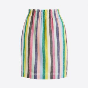 J. Crew || Stripe Linen-Cotton Sidewalk Mini Skirt